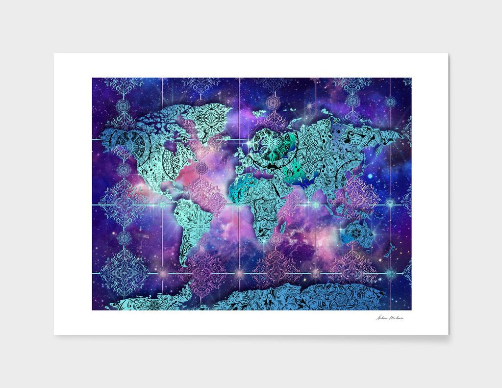 world map mandala space