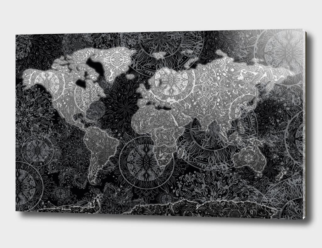 world map mandala black and white