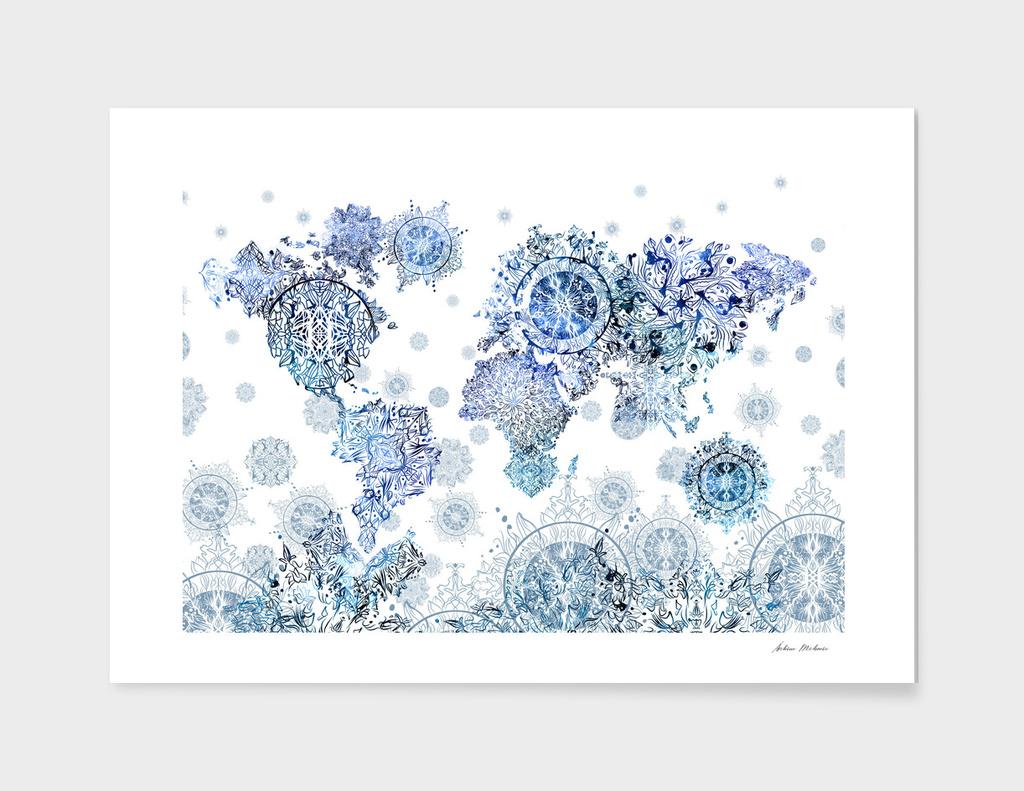 world map mandala white