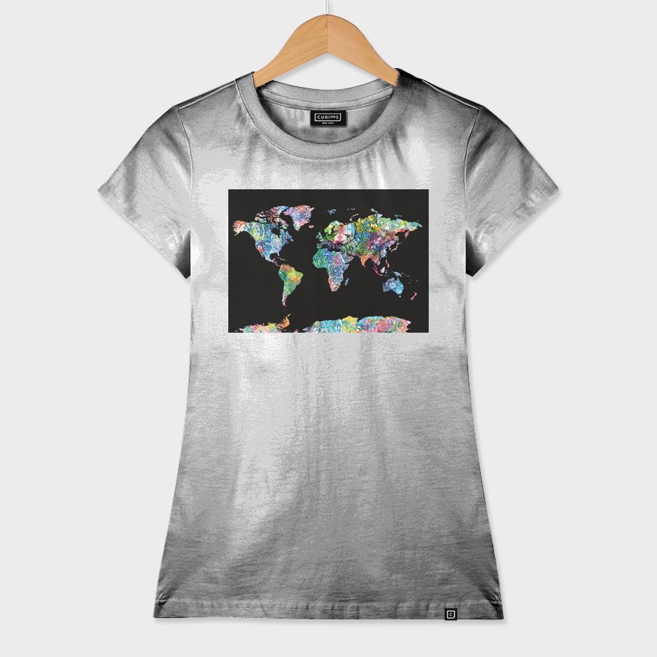 world map mandala black