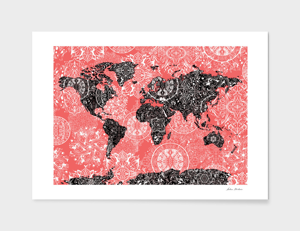 world map mandala red