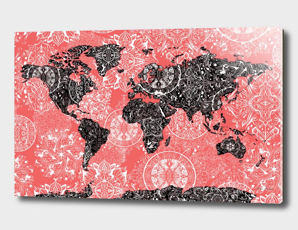 world map mandala red