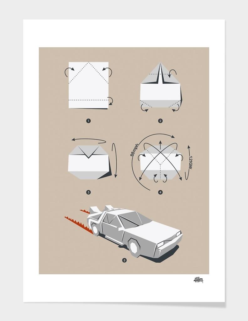 Origami Delorean