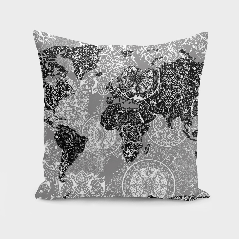 world map mandala grey 2
