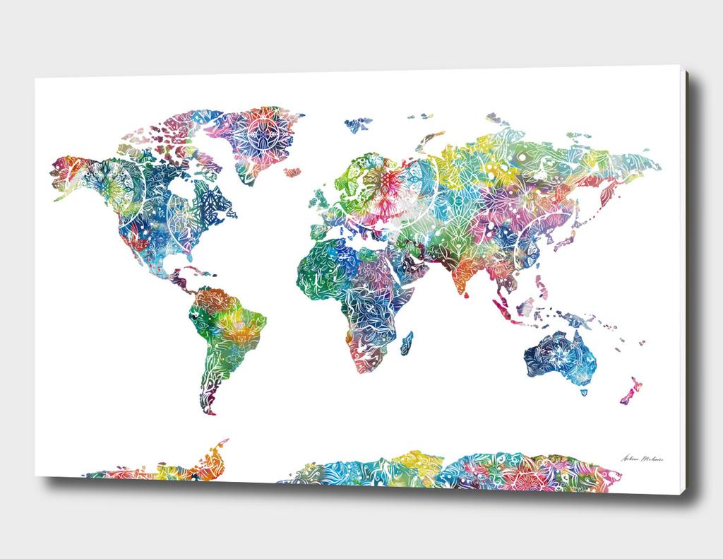 world map mandala white 1
