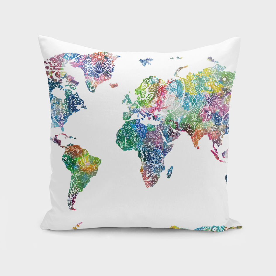 world map mandala white 1