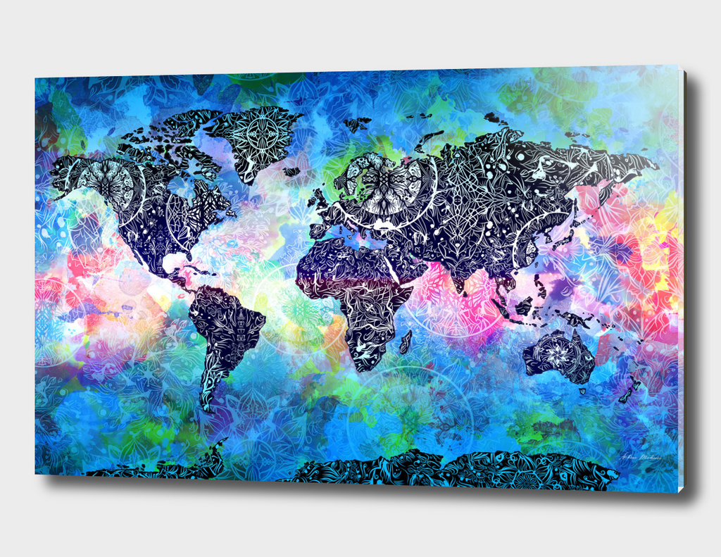 world map mandala watercolor