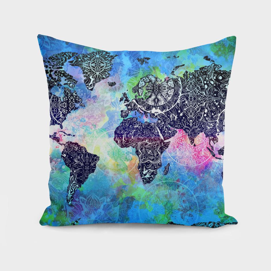 world map mandala watercolor