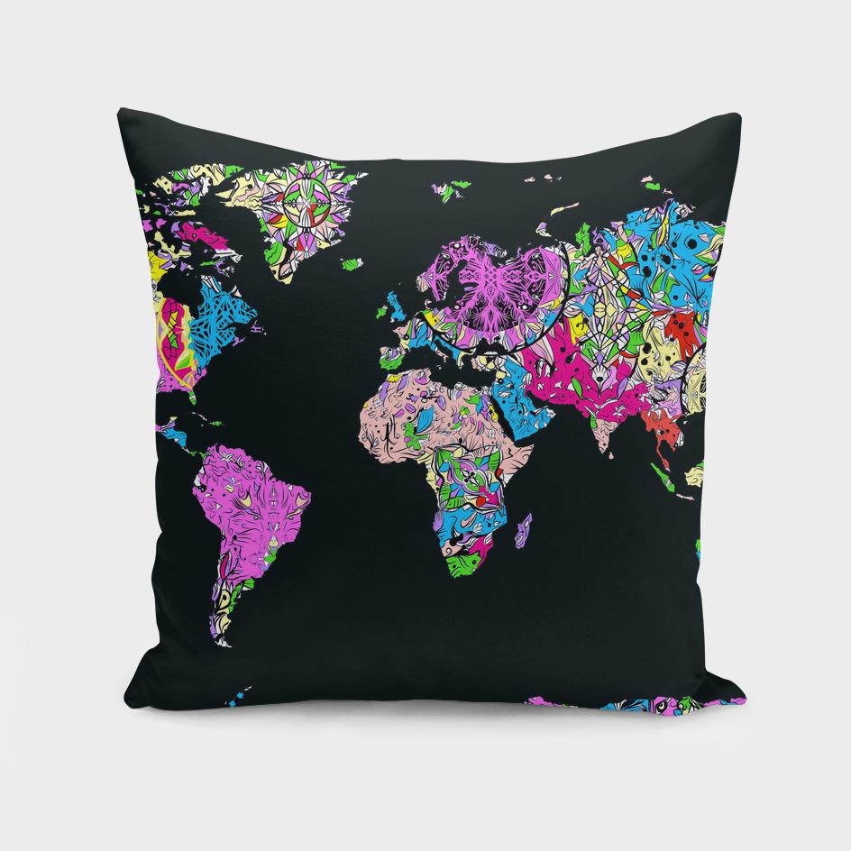 world map mandala black 3