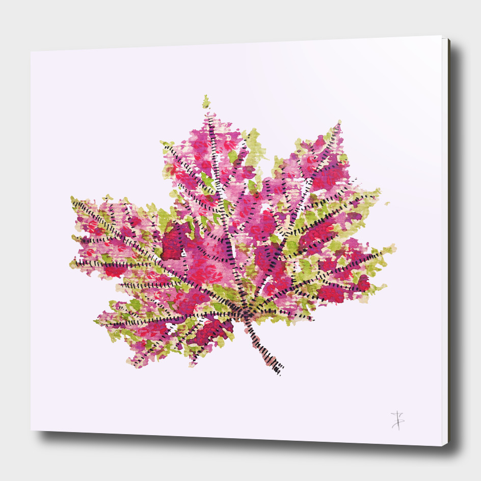 Abstract Colorful Watercolor Autumn Leaf