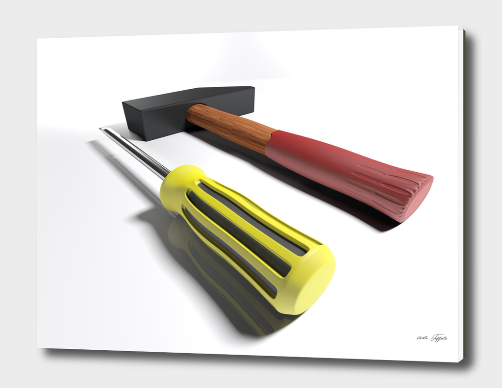 Hammer and screwdriver - 3D rendering