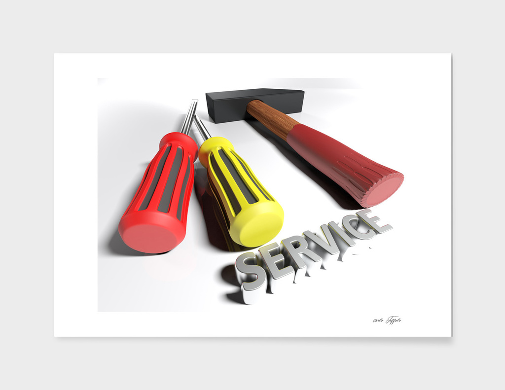 Hammer and screwdriver for Service - 3D rendering