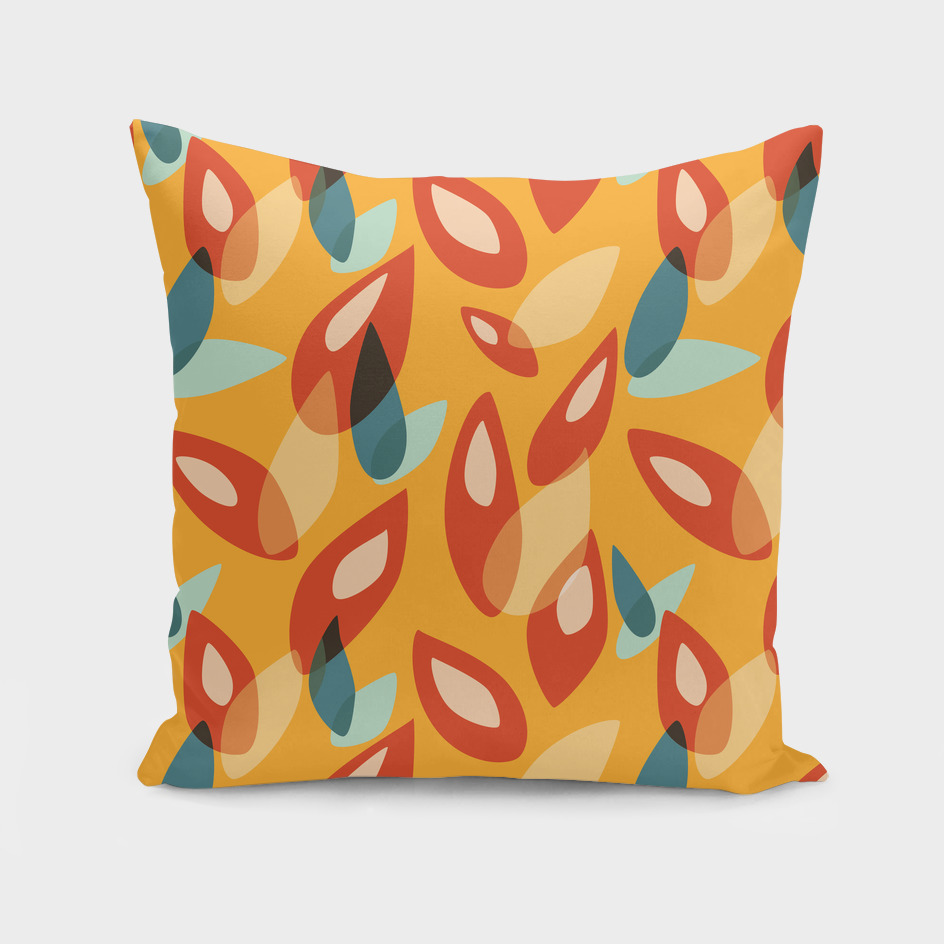 Orange Blue Yellow Geometric Autumn Leaves