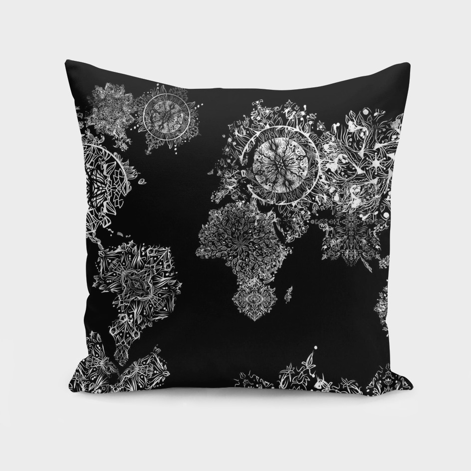 world map mandala black and white 2