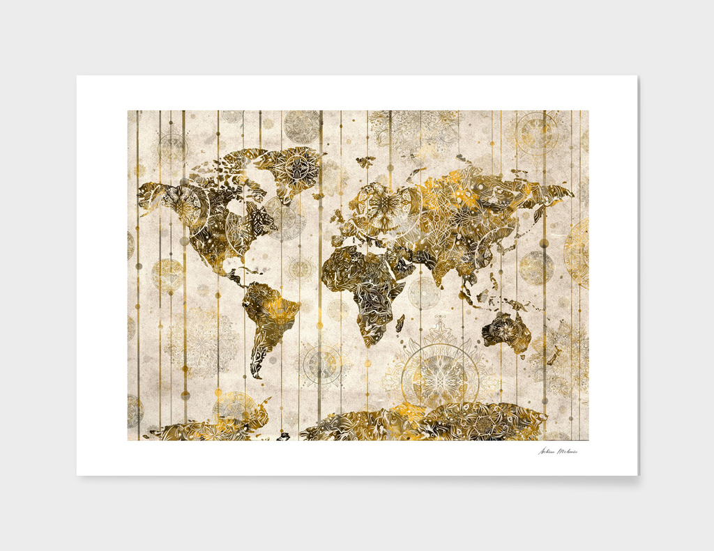 world map mandala vintage