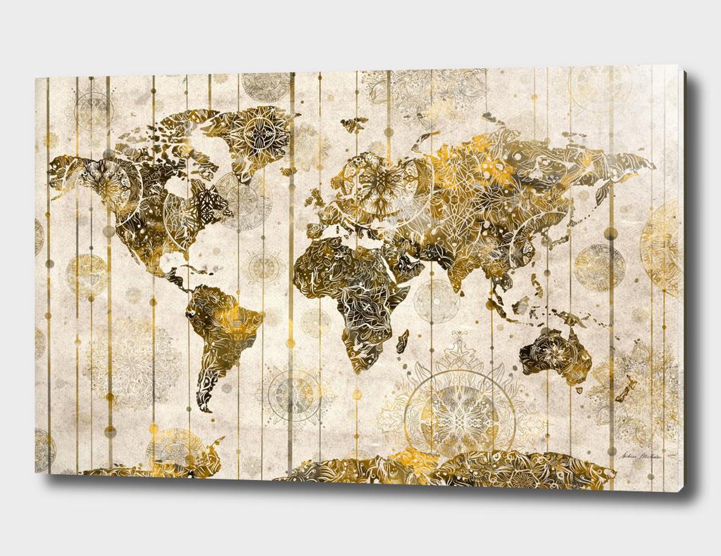 world map mandala vintage