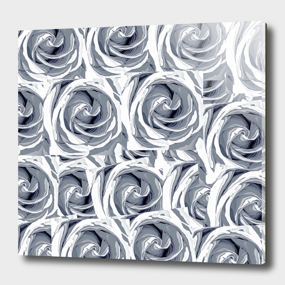 blooming rose pattern abstract in black and white