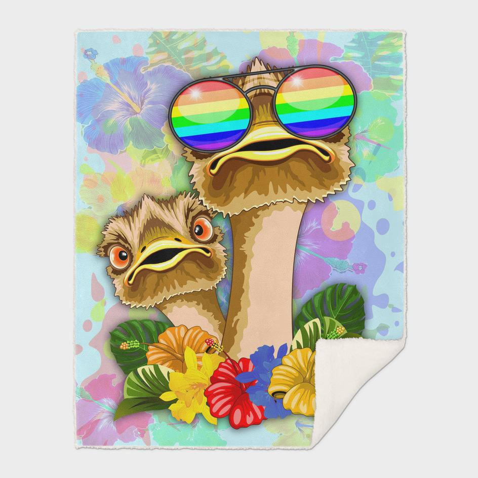 Ostrich Hawaii Fashion Funny Dudes