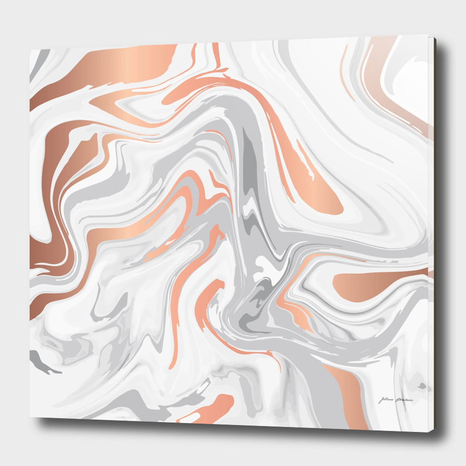 Liquid White Marble and Copper 017