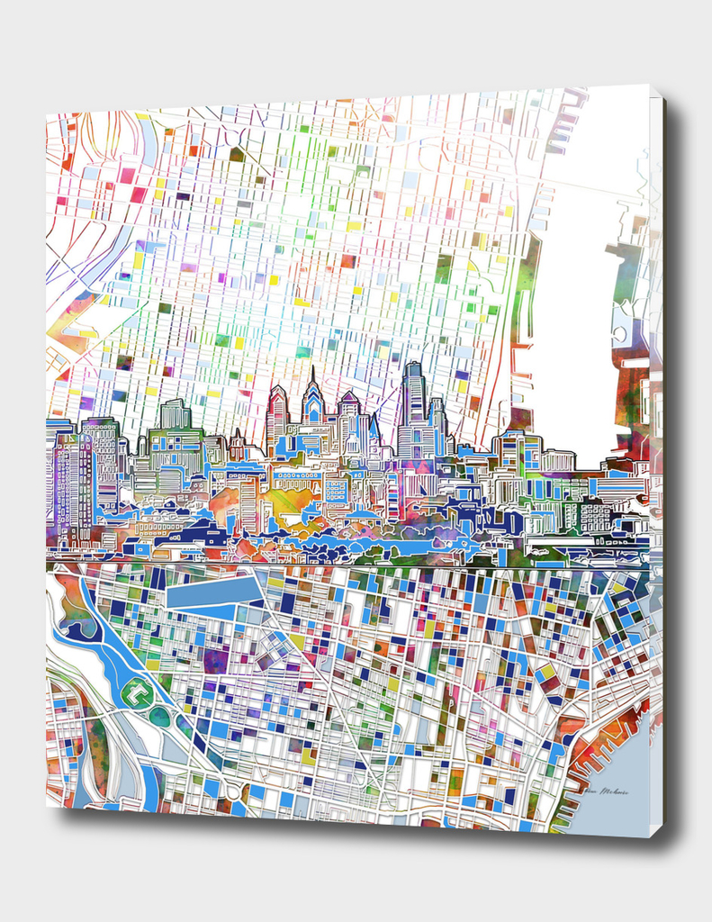 philadelphia city skyline map