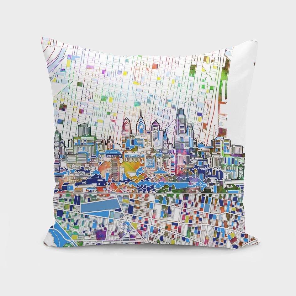 philadelphia city skyline map