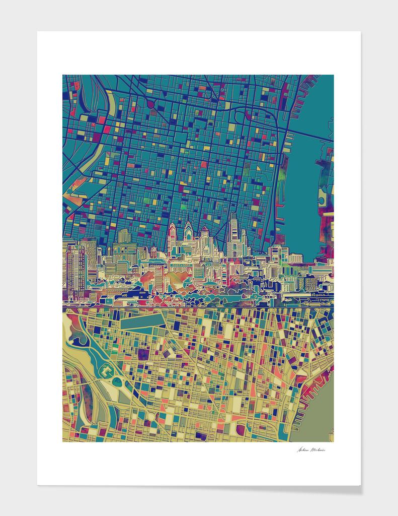 philadelphia city skyline map green
