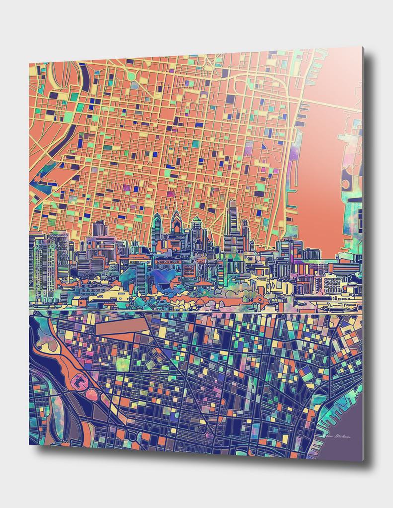 philadelphia city skyline map orange