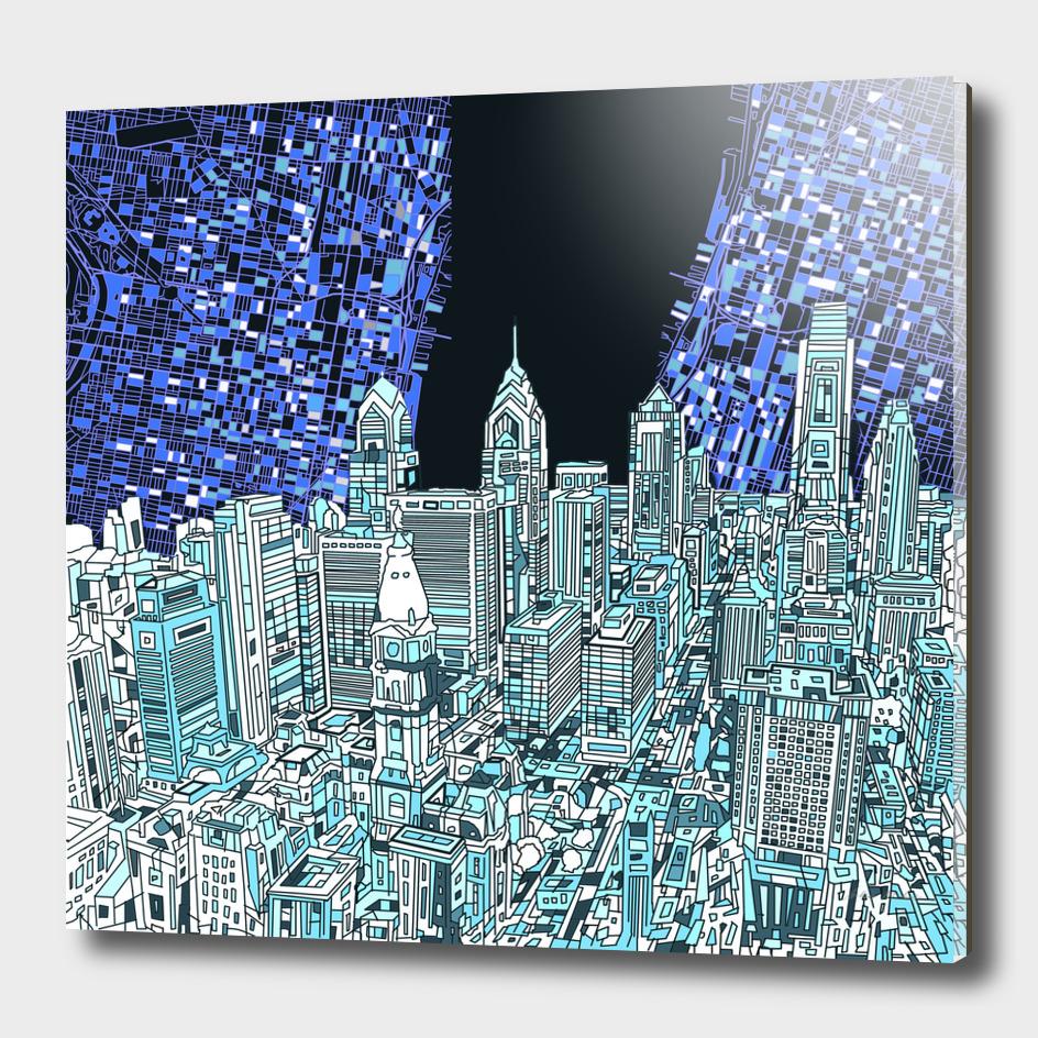 philadelphia cityscape abstract