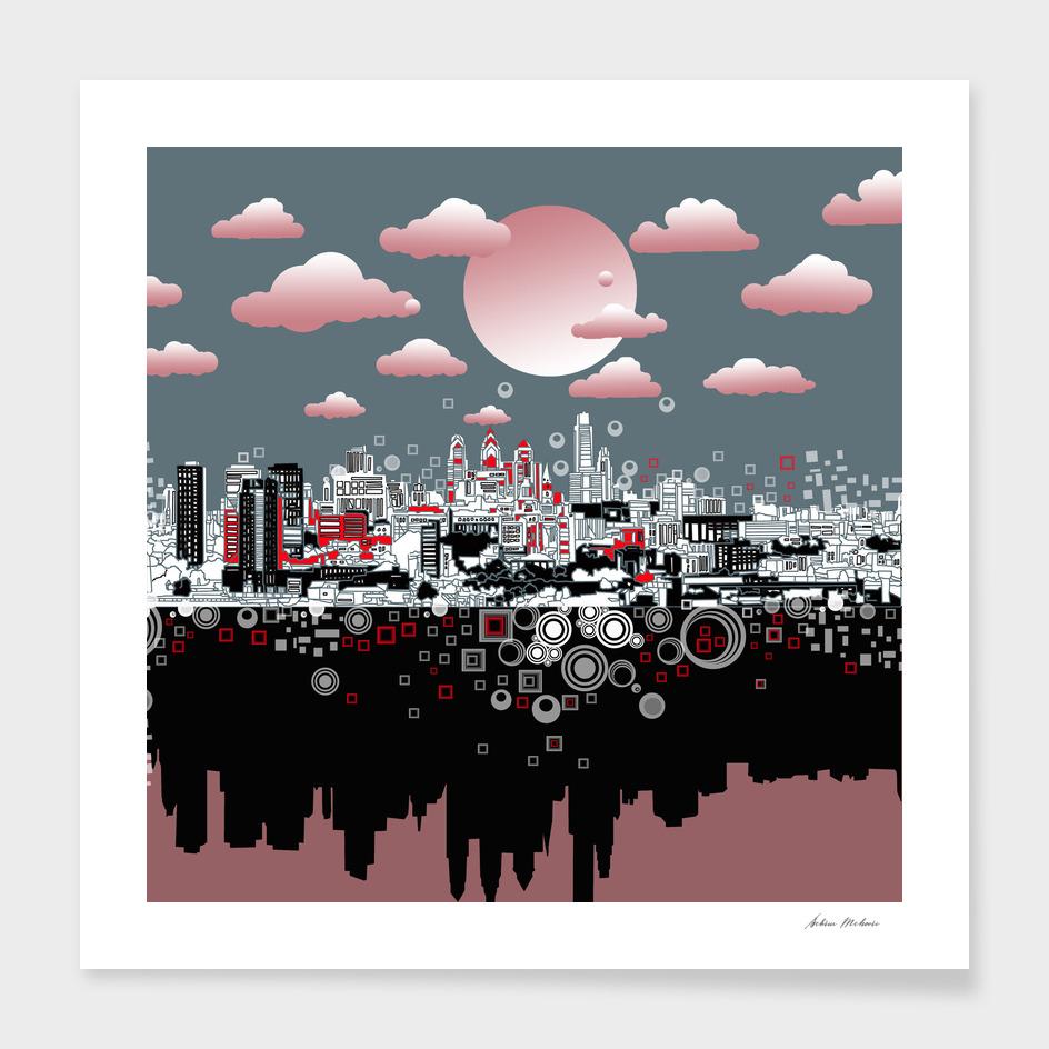 philadelphia city skyline abstract 3