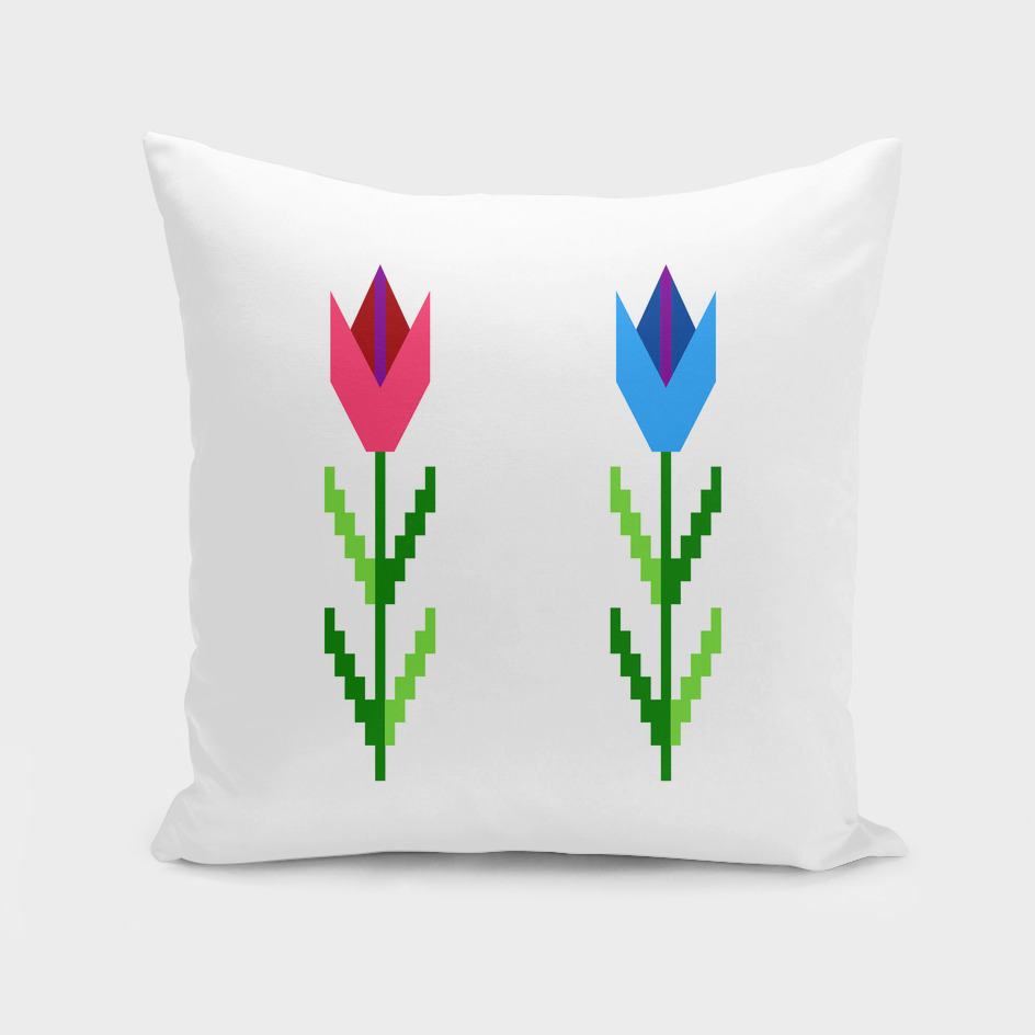 Embroidery like Graphic Flowers
