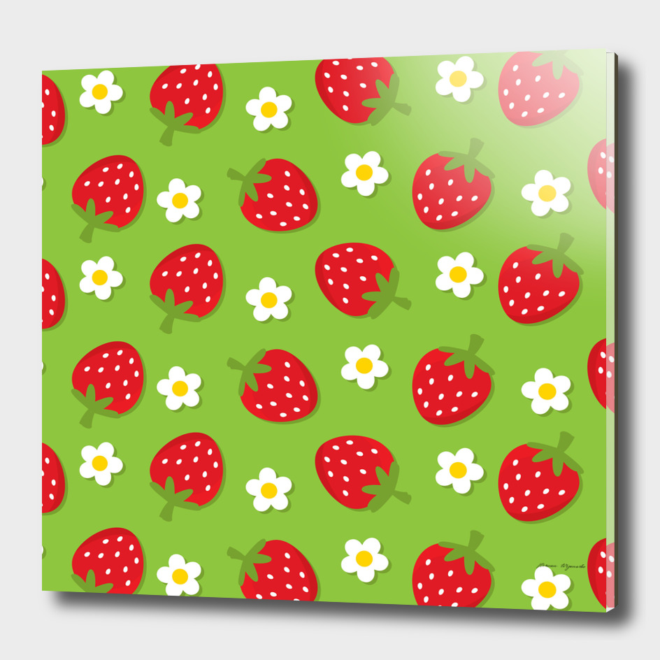 strawberries flower floral red green