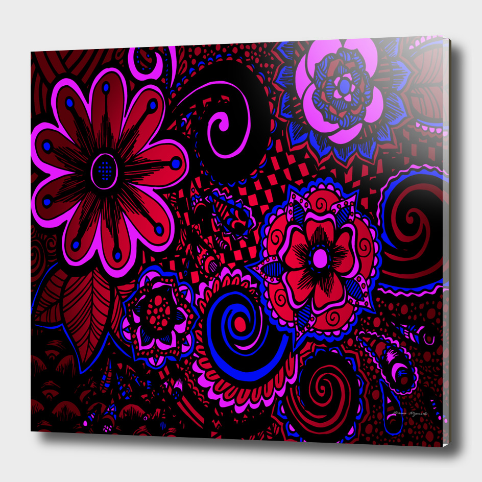 sunset floral flower red pink jewel box