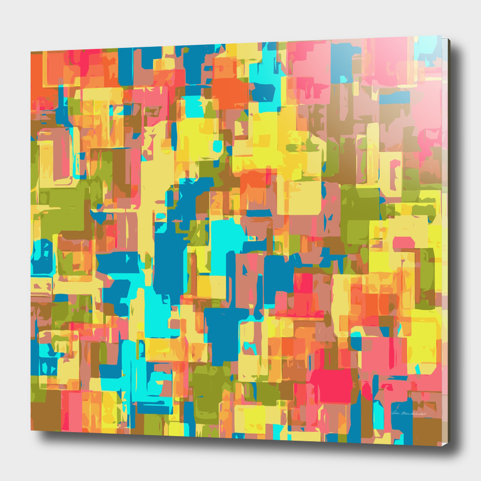 geometric square pattern abstract in yellow green blue pink