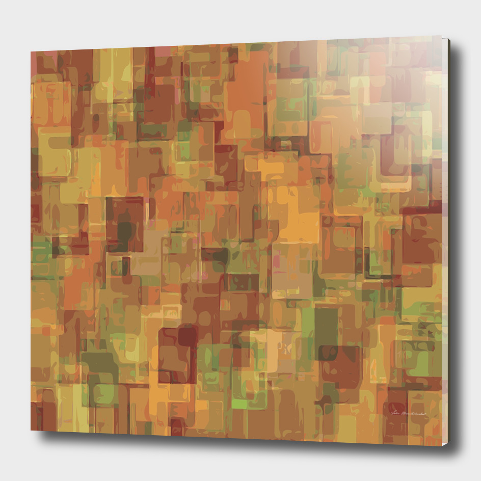 geometric square pattern abstract in brown and green