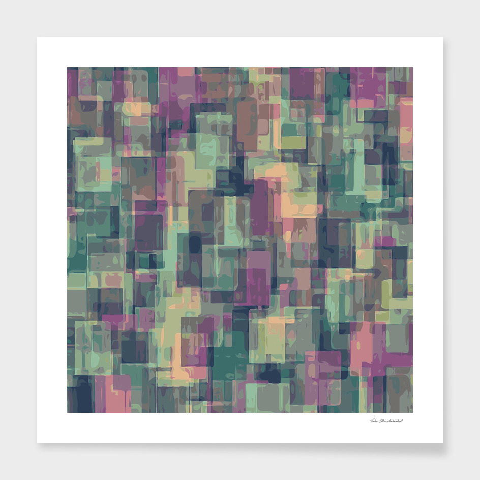 geometric square pixel pattern abstract in green and pink