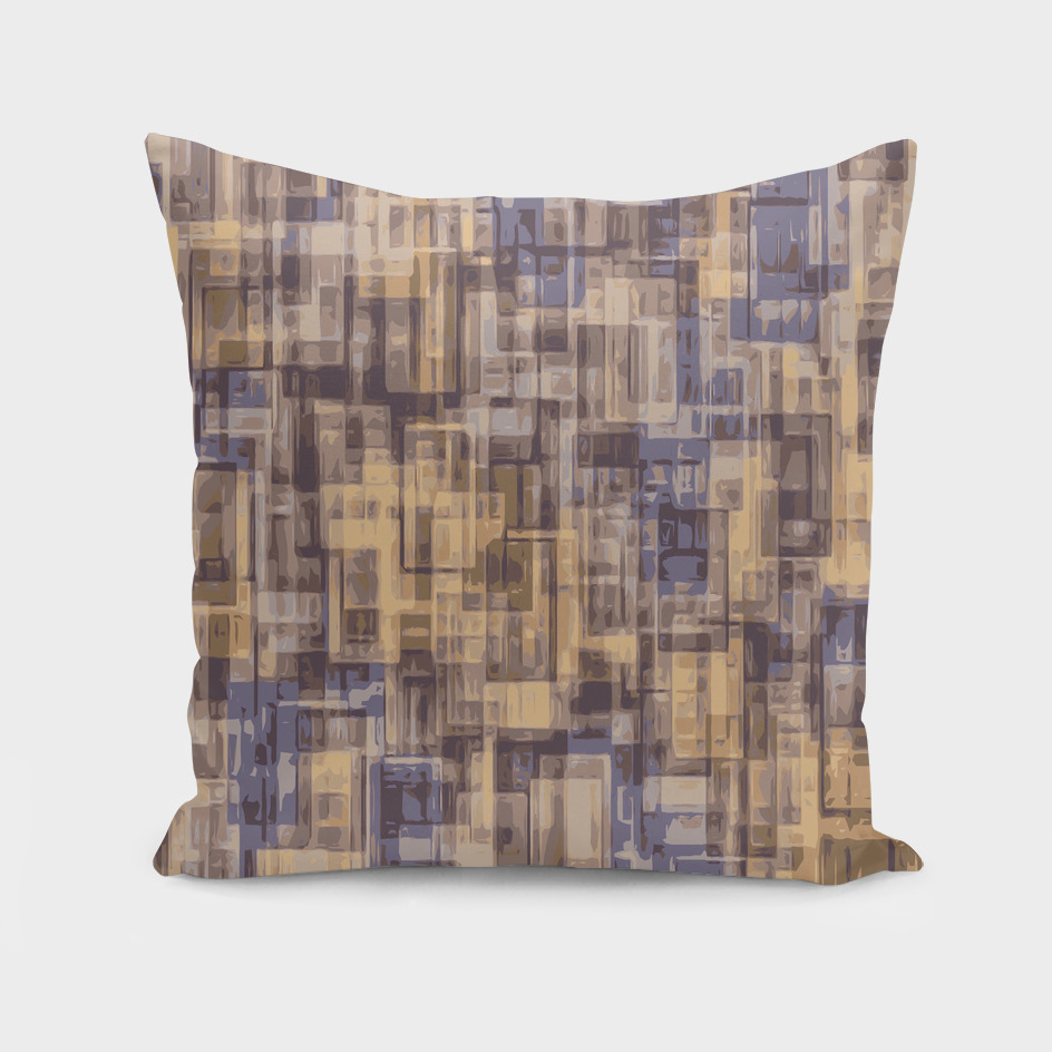 geometric square pattern abstract in brown and blue