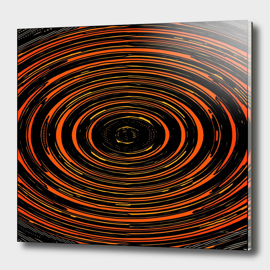 circle pattern abstract in orange and black