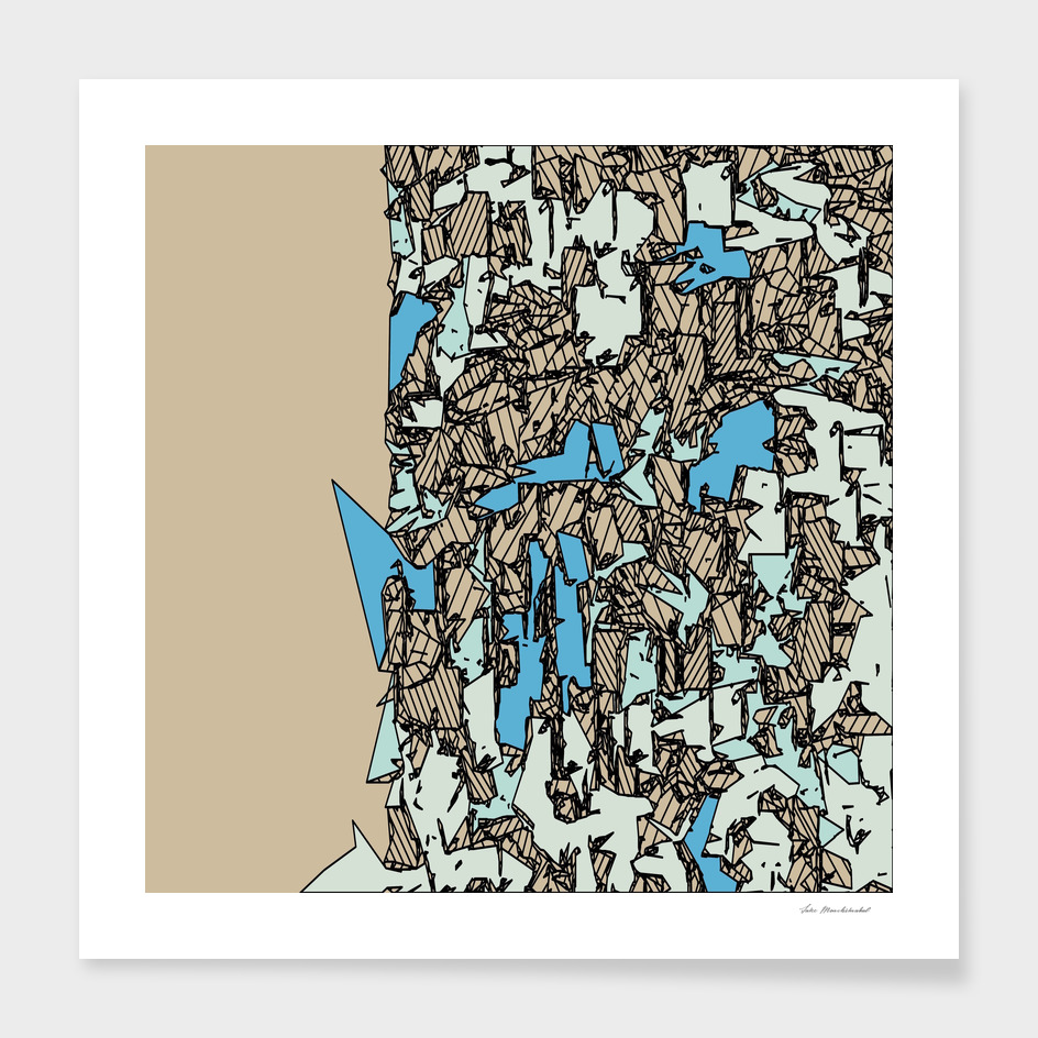 geometric drawing and sketching abstract in blue and brown