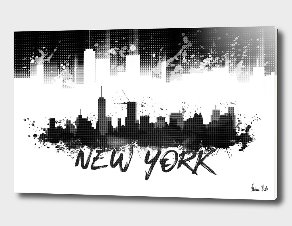 Graphic Art NYC Skyline Splashes | black