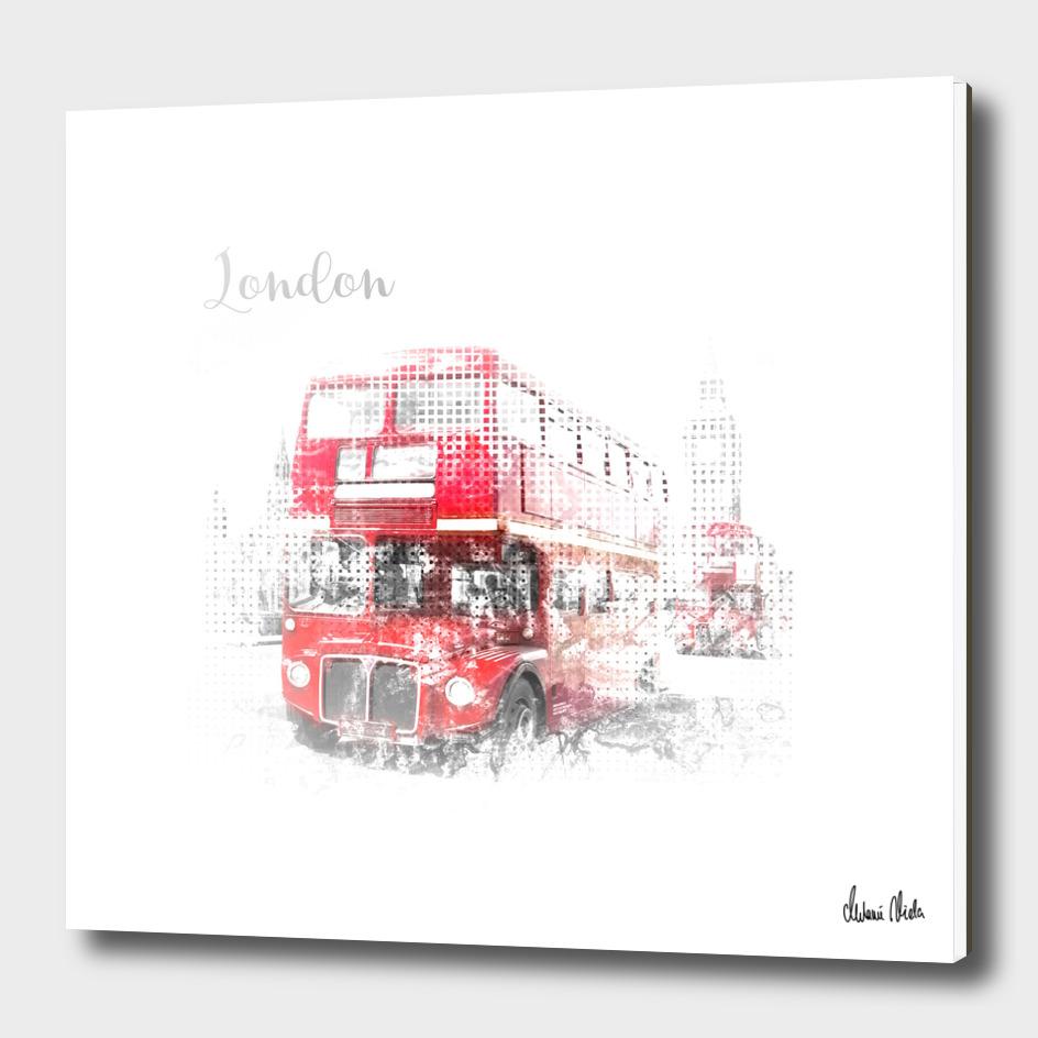 Graphic Art LONDON WESTMINSTER Street Scene