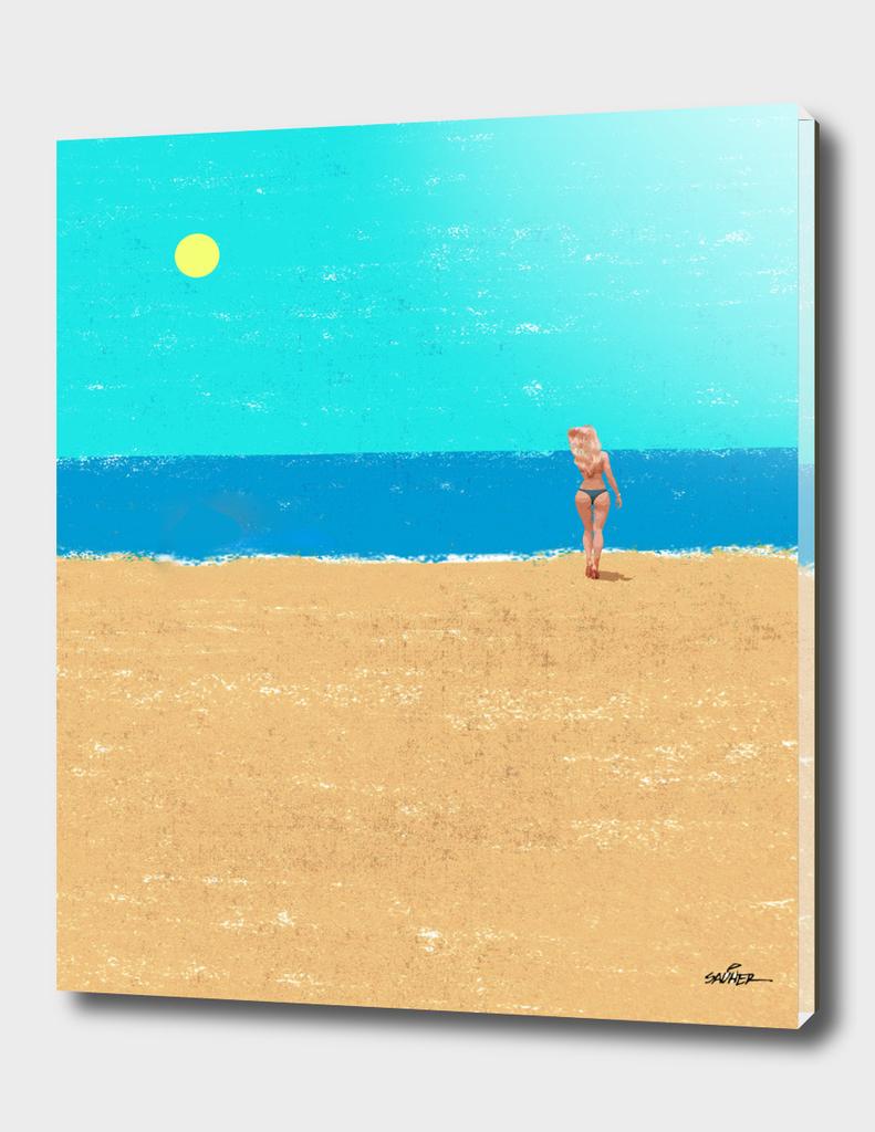 Beach Landscape and bikini Girl