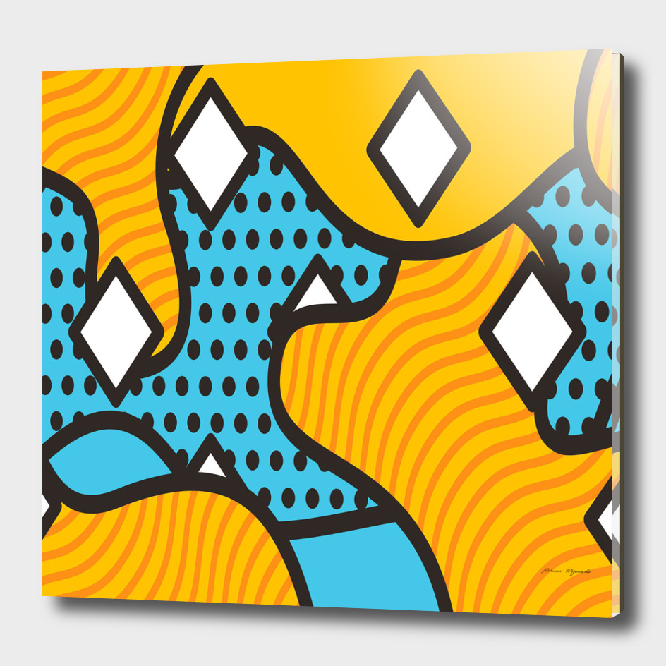 wave chevron orange blue circle plaid polka dot