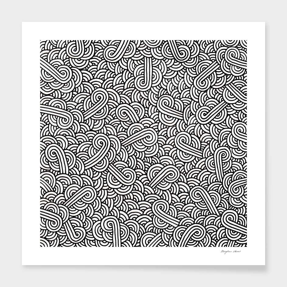 Black and white swirls doodle