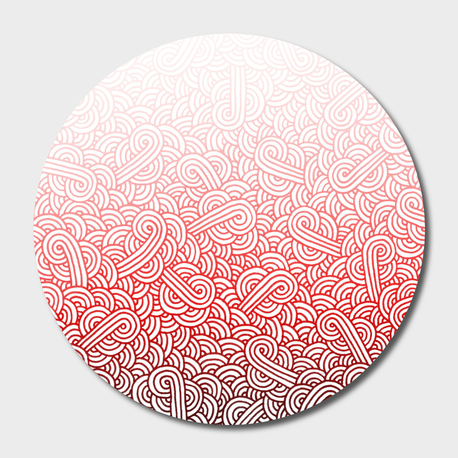 Gradient red and white swirls doodle