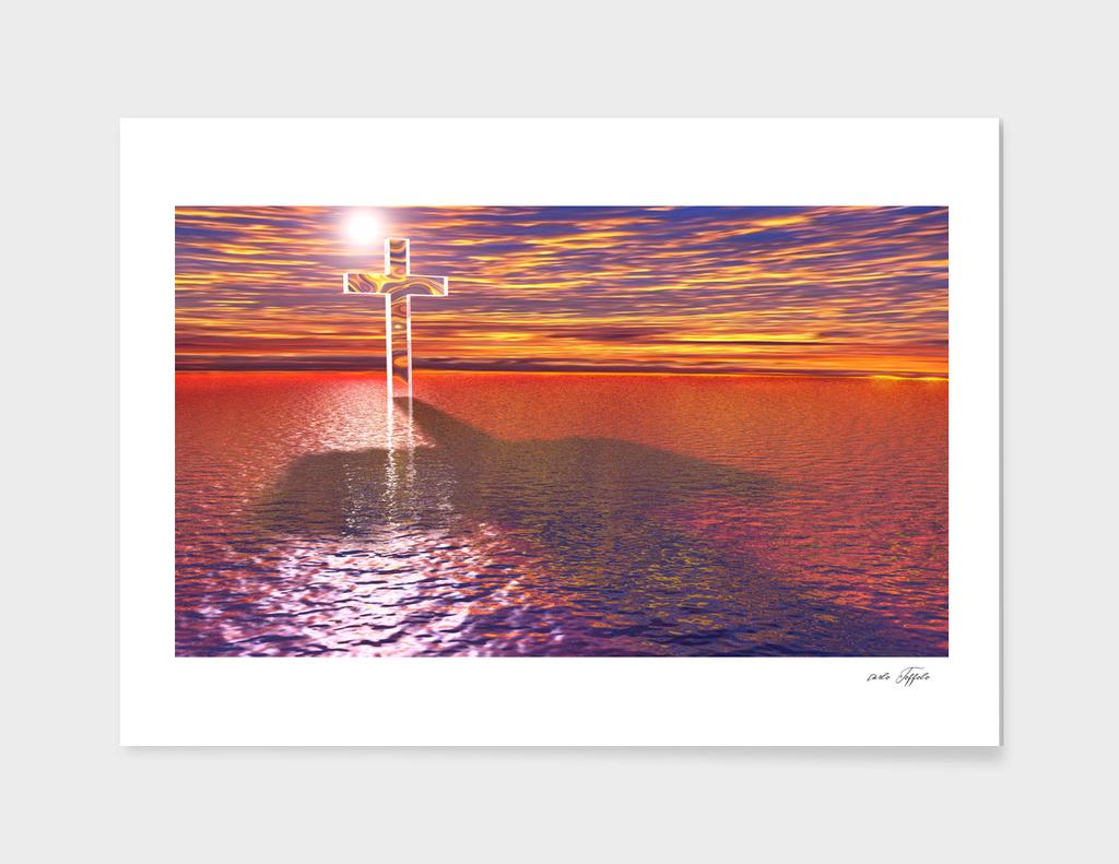 Christian cross on red sea