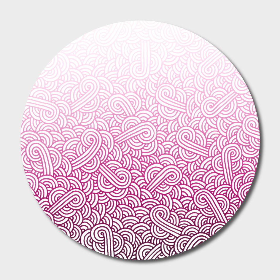 Gradient pink and white swirls doodle