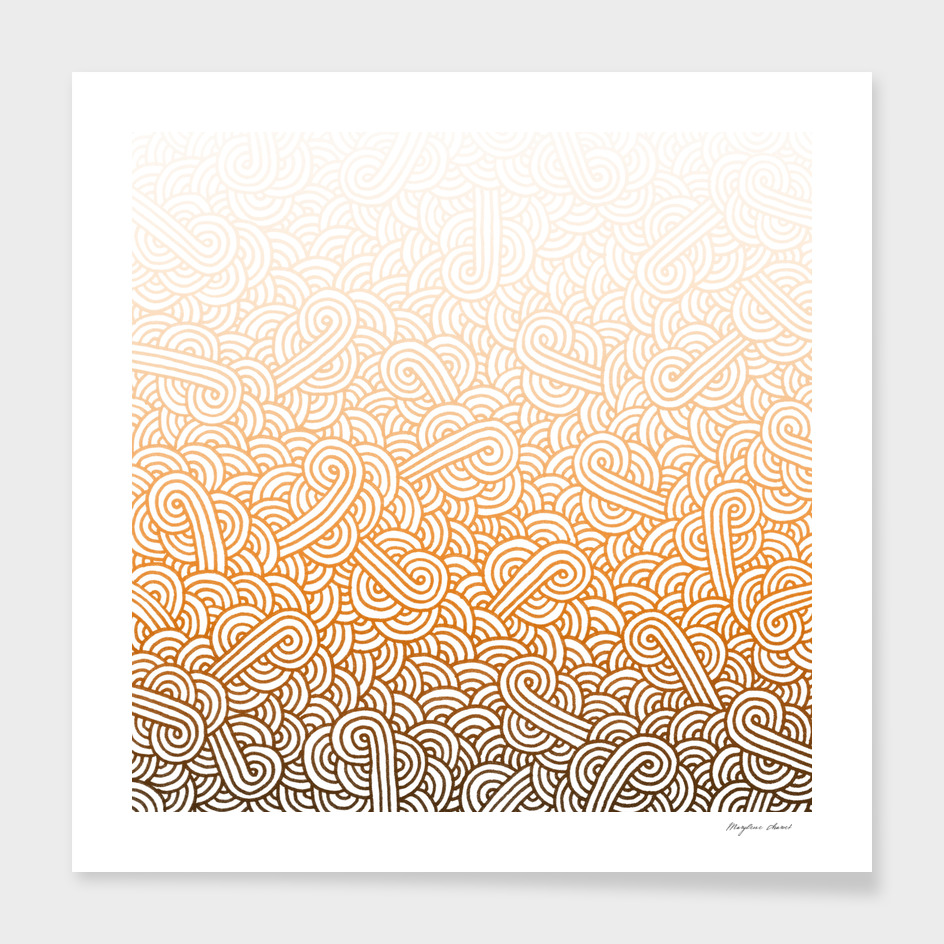 Gradient orange and white swirls doodle