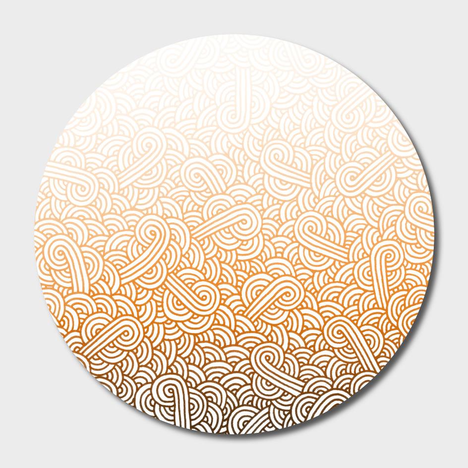 Gradient orange and white swirls doodle