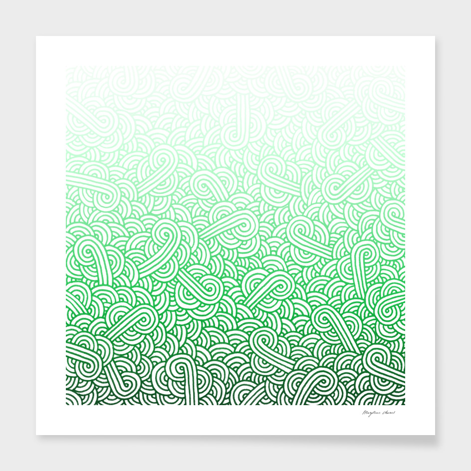 Gradient green and white swirls doodle