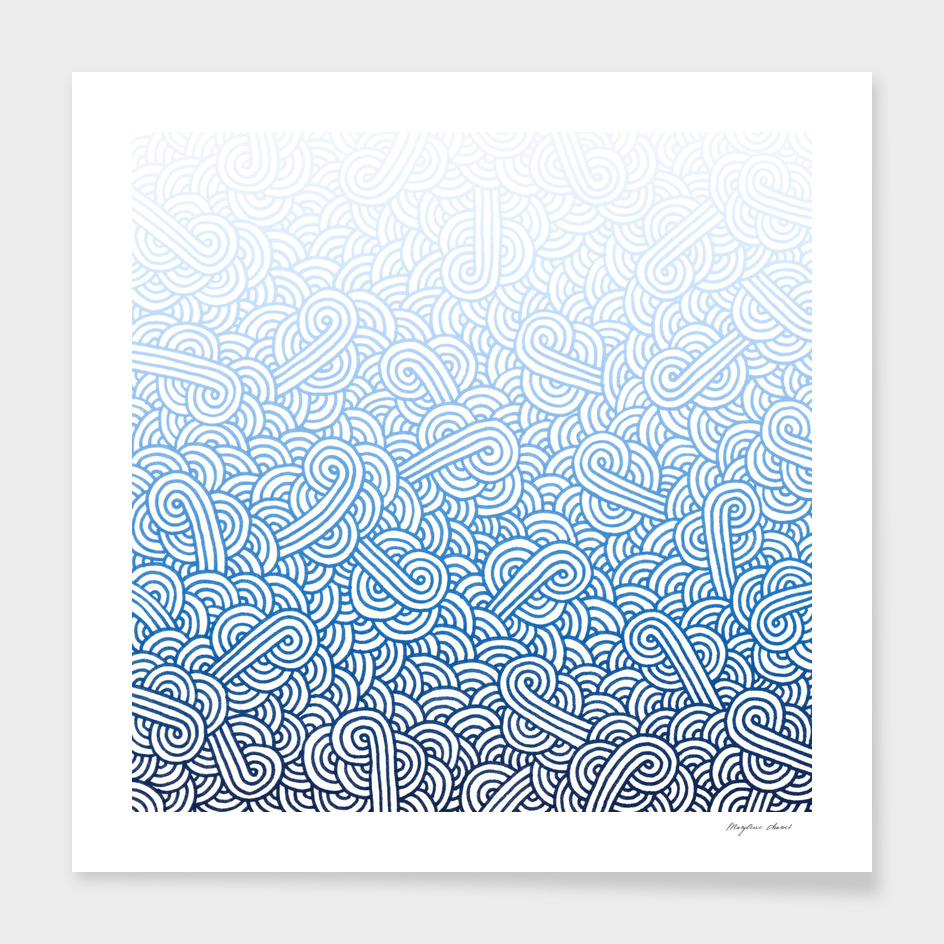 Gradient blue and white swirls doodle